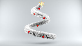 Frozen Christmas Tree on gray Background. 3d illustration frozen Christmas Tree on gray Background Royalty Free Stock Photos