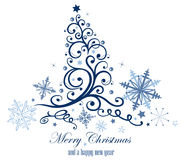 Frozen christmas tree. Ice blue snowflakes Royalty Free Stock Photos