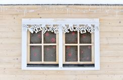Frozen Christmas window Stock Images