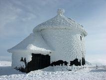 Frozen church. On the top of the mountain Stock Image