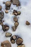 Frozen Circles. River rocks covered in snowy ice Royalty Free Stock Images