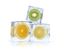 Frozen citrus. 3d illustration of citrus slice in the ice cubes Royalty Free Stock Images