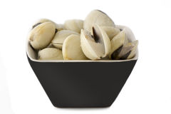 Frozen clams in black bowl,  isolated Stock Photo