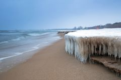 Frozen coast of Baltic Sea in Gdansk. Poland Royalty Free Stock Photo