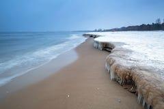 Frozen coast of Baltic Sea in Gdansk. Poland Stock Image