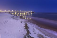Frozen coast of Baltic Sea in Gdansk. Poland Stock Images