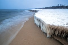 Frozen coast of Baltic Sea in Gdansk. Poland Royalty Free Stock Photography