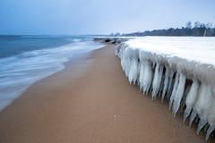 Frozen coast of Baltic Sea in Gdansk. Poland Stock Photos