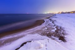 Frozen coast of Baltic Sea in Gdansk. Poland Royalty Free Stock Photos