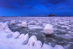 Frozen coastline of Baltic Sea in Gdynia at night. Frozen coastline of Baltic Sea in Gdynia at dusk, Poland Stock Photos