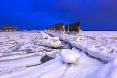 Frozen coastline of Baltic Sea in Gdynia at night. Frozen coastline of Baltic Sea in Gdynia at dusk, Poland Royalty Free Stock Photos