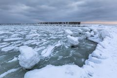 Frozen coastline of Baltic Sea in Gdynia. Poland Royalty Free Stock Photography