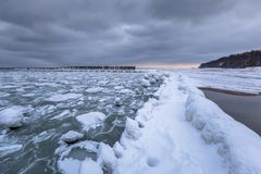 Frozen coastline of Baltic Sea in Gdynia. Poland Royalty Free Stock Images