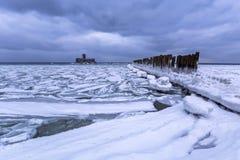 Frozen coastline of Baltic Sea in Gdynia. Poland Stock Photo