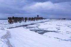Frozen coastline of Baltic Sea in Gdynia. Poland Royalty Free Stock Image