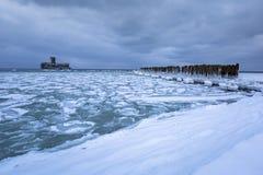 Frozen coastline of Baltic Sea in Gdynia. Poland Royalty Free Stock Photo