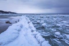 Frozen coastline of Baltic Sea in Gdynia. Poland Stock Image