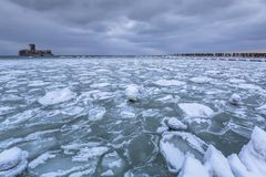Frozen coastline of Baltic Sea in Gdynia. Poland Stock Images