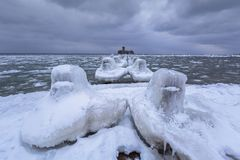 Frozen coastline of Baltic Sea in Gdynia. Poland Stock Photography