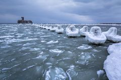 Frozen coastline of Baltic Sea in Gdynia. Poland Stock Photos