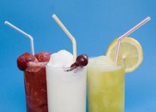 Frozen Cocktails. Delicious ice cold frozen beverages royalty free stock image