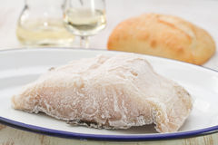 Frozen cod fish on white dish Royalty Free Stock Images