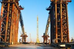 Frozen construction site, Ukraine Royalty Free Stock Images