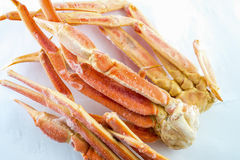 Frozen crab claws. Frozen king crab legs for sale in the store Stock Images