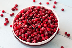 Frozen Cranberries in Bowl within heart shaped. Cookie cutter on painted wooden table Royalty Free Stock Photos
