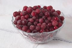 Frozen cranberry berries in a plate on a white tablecloth.  Royalty Free Stock Photos