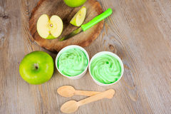 Frozen creamy ice yoghurt  with fresh green apples Royalty Free Stock Photo
