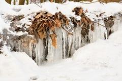 Frozen creek. Beautiful winter seasonal  background in nature. Stock Photography