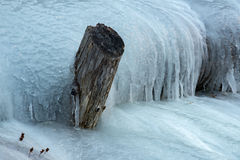 Frozen creek small waterfall in winter time Royalty Free Stock Images