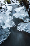 Frozen creek with snow and ice Stock Photos