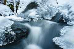 Frozen creek with snow and ice Stock Photography