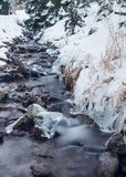 Frozen creek. In winter time Stock Photos
