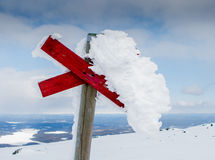 Frozen. Cross in the Swedish mountains Royalty Free Stock Photos