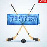 Frozen cube with cutting word Ice Hockey. Royalty Free Stock Photography