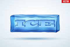 Frozen cube with cutting word Ice. Royalty Free Stock Photo