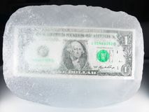 Frozen Currency, Economic Downturn, Recession stock photos