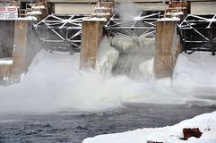 Frozen dam Royalty Free Stock Image