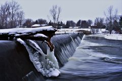 Frozen dam royalty free stock photo