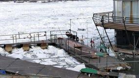Frozen Danube river in Belgrade, Serbia Stock Image