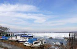 Frozen Danube river in Belgrade, Serbia Royalty Free Stock Photography