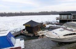 Frozen Danube river in Belgrade Stock Photo