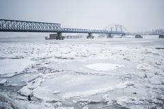 Frozen Danube River Royalty Free Stock Photos