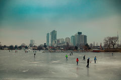 Frozen Danube in Vienna Stock Photo