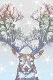 Frozen deer. With tree horn, Digital sketching of fantasy deer Royalty Free Stock Photo