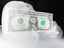 Frozen or Defrosting US Currency Royalty Free Stock Photography