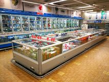 Frozen department, refrigerators and products Stock Photography